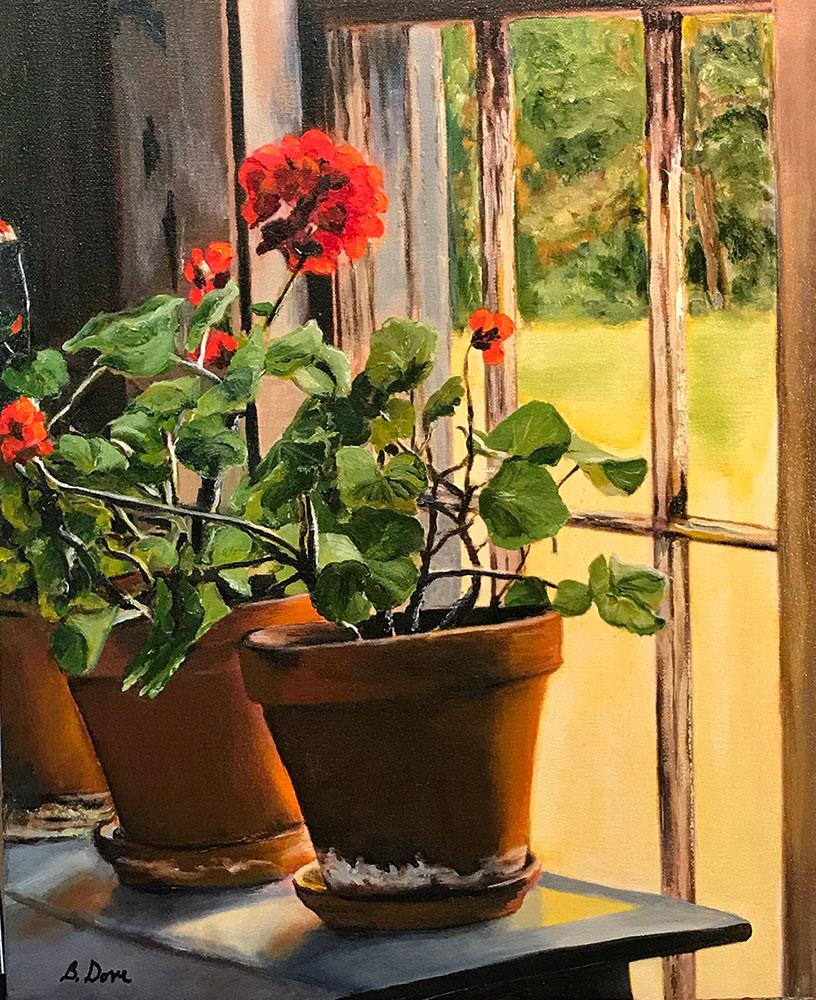Geraniums by Barbara Dove