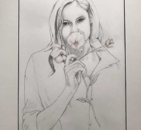 Girl with Flower by Dan Modzelewski