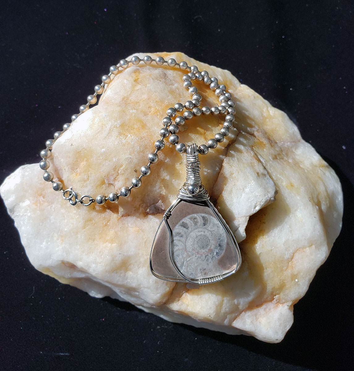 Sterling Silver Wrapped Ammonite Fossil by Tina Acciavatti