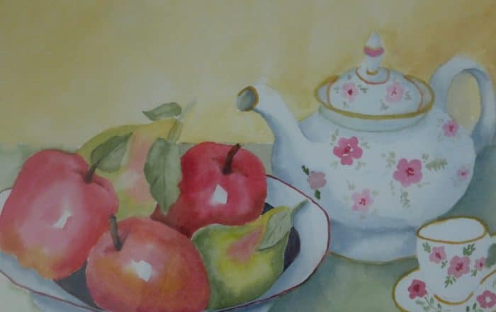 Teapot and Fruit by Shirley Buescher