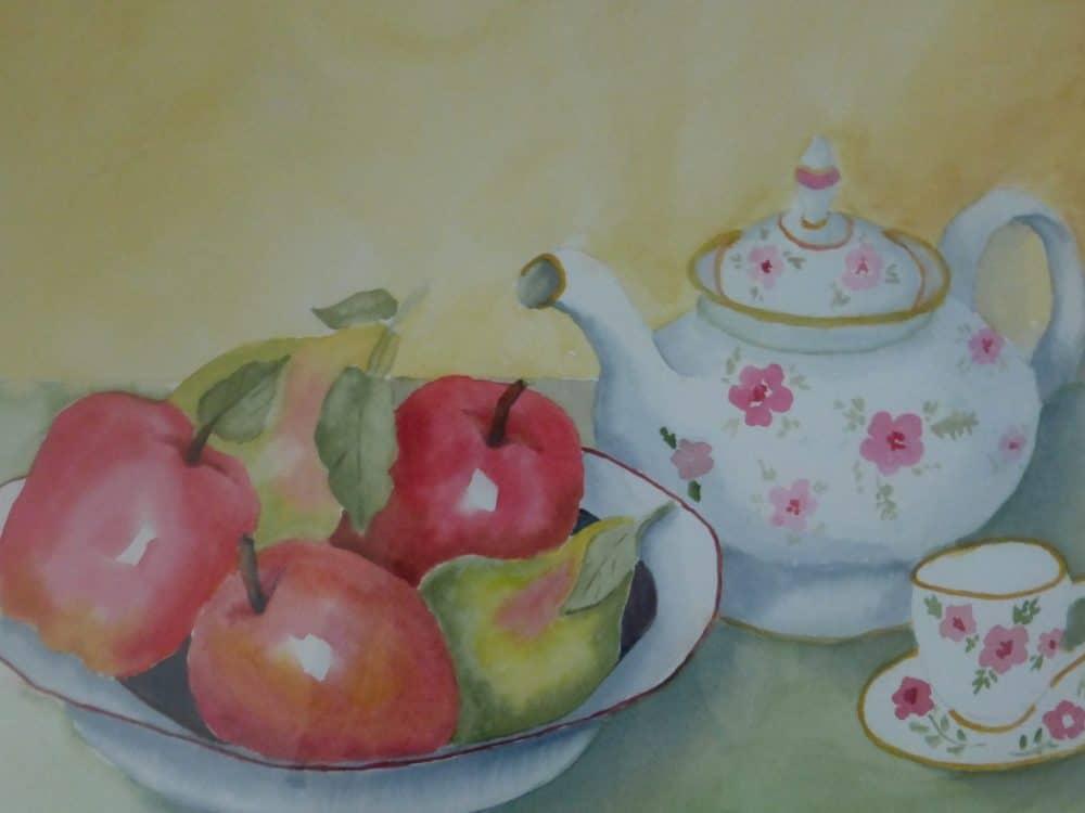 Teapot and Fruit by Shirley Buescher