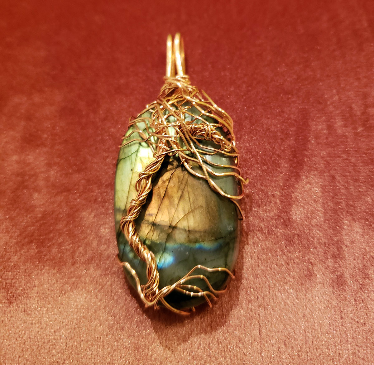 Jewelers Bronze Wrapped Laborite Stone by Tina Acciavatti