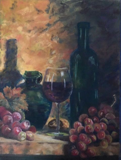 Wine and Grapes by Debra Mielke